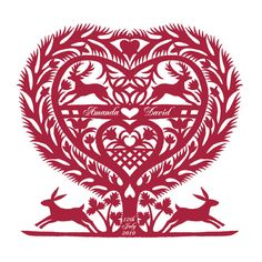 Romantic Folk Art Inspired March Hares Heart Print - could try cutting it out. March Hare, February, Paper Cutting Patterns, Polish Folk Art, Tree Images, Scandinavian Folk Art, Personalised Prints, Cross Stitch Samplers, Wonderland