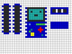 3D Beemo Sides Front Top/Bottom Perler Bead Pattern / Bead Sprite