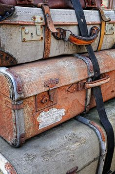beautiful old raggedy luggage