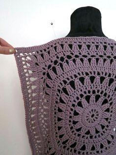 Crochet Rope, Crochet Granny, Crochet Motif, Crochet Crafts, Crochet Hooks, Crochet Cardigan, Crochet Shawl, Knit Crochet, Knitted Poncho