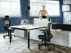 Office & Workspace:Entrancing Contemporary Glass Monitor Computer With Black Swivel Arm Chairss On White Work Desk And White Cabinets On Luxurious Wood Tiles Floor Pull Down Curtains On Blue Wall Workspace Designed By Henrique Steyer Virtuosity Henrique Steyer: Fantastic Contemporary Workspace designs