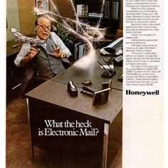 What the heck is electronic mail?? TBT ad to when email was a new concept. How did we do business prior to email? Email is still a key way to communicate with your customers. Smart businesses have a strategy to gain email opt-ins and have a regular schedule of keeping their email database engaged, ultimately driving conversions. . . . . #marketing #pointatobee #myphx #smallmarketingagency #smallbusiness #womeninbusiness #marketingagency #smallbusinessmarketing #advertising #arizona… Weird Vintage, Vintage Humor, Vintage Ads, Vintage Stuff, Funny Vintage, Vintage Posters, Retro Humor, Vintage Music, Vintage Items