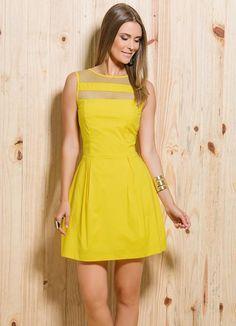 Vestido Evasê com Transparências Amarelo - Quintess