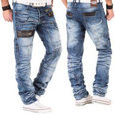 Kosmo Lupo Herren Jeans Hose Cargo Denim Chino Clubwear Verwaschen Vintage Blau