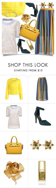 """""""High multicolor waisted skirt"""" by nejra-l ❤ liked on Polyvore featuring La Perla, Christian Dior, Dolce&Gabbana, yellow, skirt, bag, blouse and multcolor"""