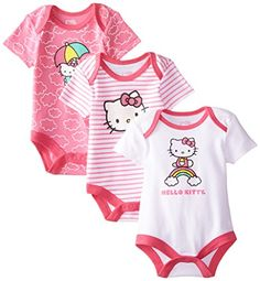 Hello Kitty Baby Girls Value Pack Bodysuits PinkWhitePink 03 Months *** You can get additional details at the image link.