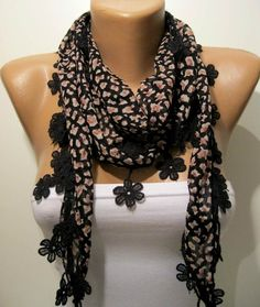 Brown and Elegance Shawl / Scarf with Black Lace by SwedishShop, $13.90