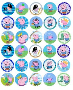 GEORGE PEPPA PIG PREMIUM EDIBLE BIRTHDAY CUPCAKE TOPPER DECORATION X 30 PRE-CUT