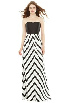 Alfred Sung Strapless Stripe Sateen A-Line Gown available at #Nordstrom