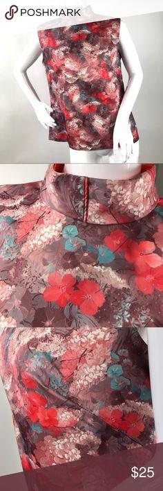62f13c44d65f4 Vintage M L Oriental Floral Print Mock Neck Top Coming soon Vintage Tops