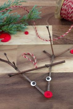 Twig Reindeer Ornaments Just in time for Christmas, learn how to make a DIY wooden popsicle stick sled ornament with craft sticks, glue, and paint. This simple holiday craft for kids is perfect for home or school! Christmas Decorations For Kids, Christmas Crafts For Kids To Make, Preschool Christmas, Noel Christmas, Christmas Activities, Simple Christmas, Holiday Crafts, Christmas Garden, Indoor Activities