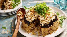 Makloube –Libanese pilav met kip en aubergine