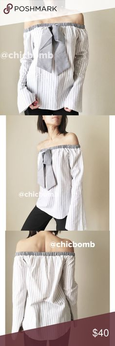 "Mango off-shoulder ribbon tie shirt blouse top. Classic shirt reconstructed to modern beautiful In style off shoulder shirt with ribbon tie by Mango. Top quality 100%cotton . Slight flare bells sleeve. Casual chic. Size S: bust 34"",length 20"" width34"". Size M :bust 35"",length 20"" width 35"". Size L : bust 36"", length 21"", width 36. Available in blu. Follow me on INSTAGRAM: @chic_bomb and FACEBOOK: @thechicbomb CHICBOMB BOUTIQUE Tops Blouses"