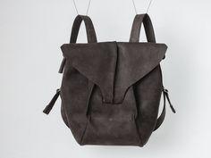 Leather backpack // black backpack / unisex / genuine leather / nubuck by circumambulation on Etsy #Leather #backpack #dark #black #leather #circumambulation #dark #minimal #design #CircumambulationBags #minimalizm #rucksack #unisex