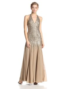 Sequin Halter Evening Gown with Chiffon Inserts by Halston Heritage