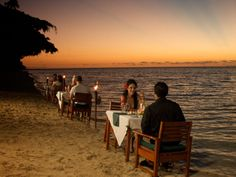 Beach dining at Lomani Island Resort, Fiji  www.islandescapes.com.au