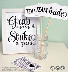 DIY Photo props - signs and tickets! Might be fun for guests to take their own pics and send to us after the wedding or maybe we nominate two fun loving 'unofficial photographers'?