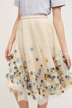 Petaled Tulle Skirt