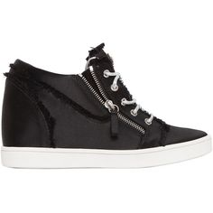 Giuseppe Zanotti Design Women 80mm Fringed Satin Wedged Sneakers (1 265 AUD) ❤ liked on Polyvore featuring shoes, sneakers, black, zip sneakers, black fringe shoes, black sneakers, black trainers and fringe shoes