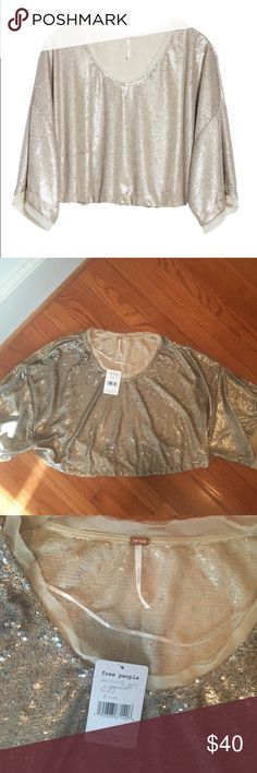 NWT Free People Champagne Sequin Crop Top S Brand new!!! retail $128 Free People Tops Crop Tops