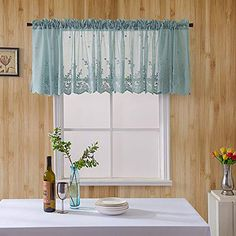 lace valance curtains for windows Small Curtains, Tulle Curtains, Short Curtains, Cheap Curtains, Cafe Curtains, Door Panel Curtains, Sheer Curtain Panels, Curtain Door, Lace Window