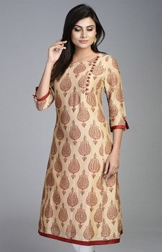 Designer long kurtis are very long in length and can have slits or flares. Here are the 15 latest and new designer kurti collection for women Printed Kurti Designs, Silk Kurti Designs, Salwar Neck Designs, Kurta Neck Design, Kurta Designs Women, Dress Neck Designs, Kurti Designs Party Wear, Blouse Designs, Kurti Sleeves Design