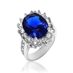Kate Middleton Princess Diana Ring Oval Blue Sapphire Color CZ Engagement Ring 5ct.