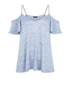 Blue Cold Shoulder V Neck Cami | New Look