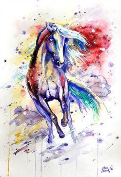 33 by ElenaShved on DeviantArt Horse Drawings, Animal Drawings, Watercolor Horse, Watercolor Paintings, Art And Illustration, Arte Equina, Horse Artwork, Horse Silhouette, Equine Art