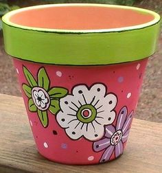 Handpainted Lime Green and Pink Terra Cotta by TheLaughingCabin