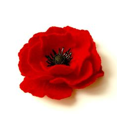 felted flower brooch RED RED POPPY / ready to ship by Patricija, $23.00
