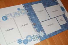 "These are the three layouts we'll be making Saturday, February 20 in the free ""Super-Saver Scrapbooking""  sessions. I had lots of fun mak..."