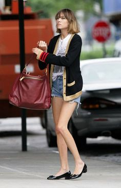 Tory Burch sweater with jean shorts, T and low heel pumps <3