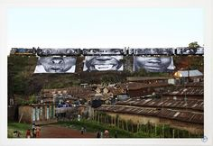 Art for change    Kenya—Aimed skyward from photos atop a train, the eyes of women pierce a rooftop landscape in Nairobi's Kibera slum. The display, part of a global art project, paid tribute to women from Africa, Brazil, India, and Cambodia.