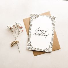 'Happy Birthday' Modern Calligraphy Card - Are you interested in our Happy Birthday card? With our modern calligraphy card you need look no fu - Calligraphy Birthday Card, Watercolor Birthday Cards, Birthday Card Drawing, Calligraphy Cards, Birthday Card Design, Happy Birthday Hand Lettering, Handlettering Happy Birthday, Modern Calligraphy Quotes, Simple Birthday Cards
