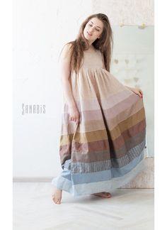 1aaf6e01465 Купить Эко платье-сарафан из натурального льна - бледно-сиреневый