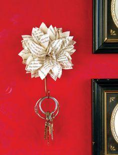 Paper flower key holder