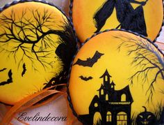 Beautiful halloween cookies - tutorial not in english, but nice pictures