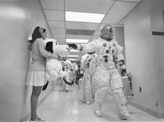 Apollo 10 Astronaut Tom Stafford, Jamye Flowers, and Snoopy  (source : http://www.apolloarchive.com/apollo_gallery.html)