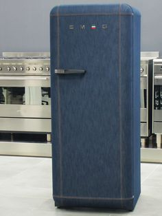 Jeans refrigerator in a limited edition of 500. Smeg, which has developed home appliances for 60 years, and Italia Independent, a brand of creativity and style, have combined two icons: the FAB28 fridge and Jeans. Using traditional objects combined with new ideas has inspired the two Italian brands to produce the first refrigerator covered entirely by jeans.