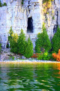 Dolostone bluffs Peninsula State Park Door County Wisconsin