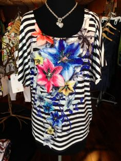 SUPER-MODERN FLORALS WITH TRADITIONAL STRIPES & A TOUCH OF BLING!!! This top pairs well with denim, black or white!!! Szs: S-XL; $48