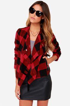 BB Dakota Rosanna Black and Red Plaid Jacket