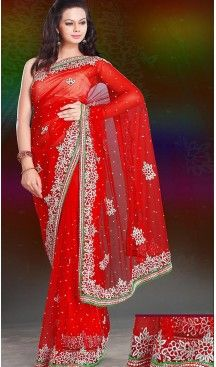 Designer Style Wedding Bridel Saree in Orange Color Net | FH515778477 #wedding, #sarees, #onlineshopping, #collection, #designer, #boutiques, #sell, #india, #heenastyle, #fashion, #bridel, #saris, #blouse, #reception, #party, #ringceremony, #engagement, @heenastyle , #traditional