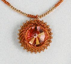 Spirograph Inspired Design, Wire Wrapped Swarovski Crystal Rivoli Necklace, Peach Melba by SparkleBunnyFrouFrou on Etsy