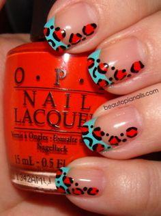 Blue Tips, Red/Orange Leopard Print Design #nails