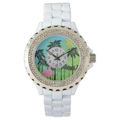 pink flamingo and palms rhinestone watch - click/tap to personalize