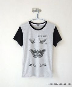 Harry Styles Tattoo Baseball Tee $13.99 ; Harry Styles ; One Direction Shirt ; #1D ; Fangirl ; Graphic Tees ; Tumblr ; Teen Fashion ; Shop more #OneDirection fashion at http://kissmebangbang.com/product-category/one-direction/