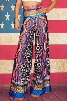 Ethnic Style Wide Leg Pants