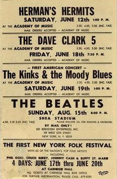 British Invasion concert poster During the 1960s many rock/pop music acts from the UK as well as British culture became popular. Some popular bands included (my all time favorites): The Beatles, The Dave Clark Five, The Kinks, The Rolling Stones, and The Who